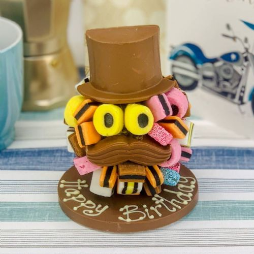 Personalised Allsorts Chocolate Head with Hat & Moustache
